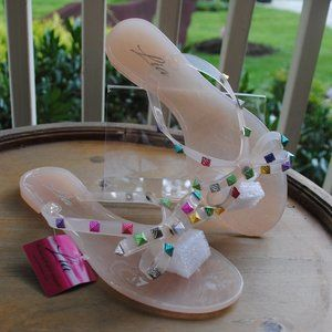 NWT NIB Jelly Sandal NUDE Colorful Adornment BOWS